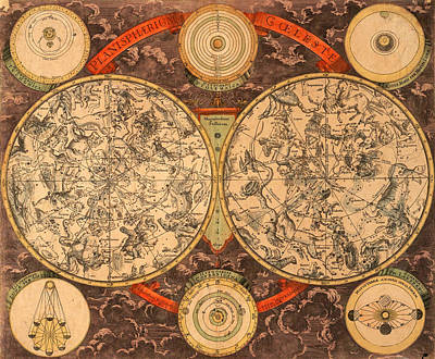 Photograph - Vintage Celestial Map 1700 by Andrew Fare