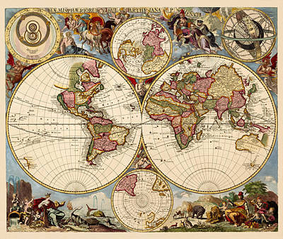 Photograph - Vintage Celestial Map 1705 by Andrew Fare