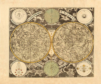 Photograph - Vintage Celestial Map 1750 by Andrew Fare