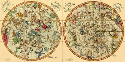 Photograph - Vintage Celestial Map 1820 by Andrew Fare