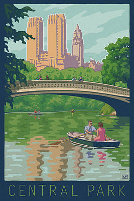 Paddling Digital Art - Vintage Central Park by Mitch Frey