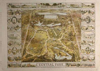 Vintage Central Park Nyc Pictorial Map  Art Print