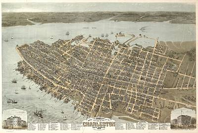 Compass Mixed Media - Vintage Charleston South Carolina Map by Dan Sproul