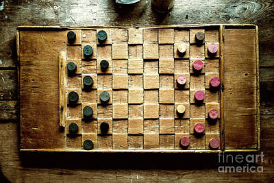 Photograph - Vintage Checkers Board by M G Whittingham
