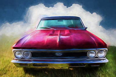 Photograph - Vintage Chevy Chevelle Super Sport Watercolor Painting by Debra and Dave Vanderlaan