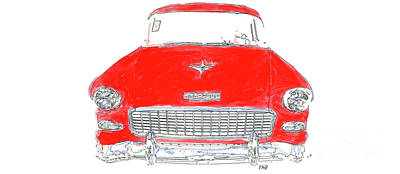Painting - Vintage Chevy Painting Mug by Edward Fielding