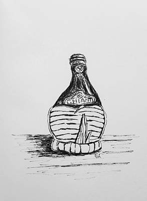 Drawing - Vintage Chianti by Victoria Lakes