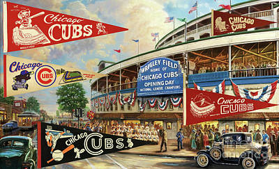 Digital Art - Vintage Chicago Cubs by Steven Parker