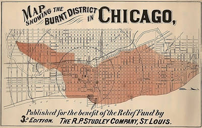 Vintage Chicago Fire Map Art Print by Stephen Stookey