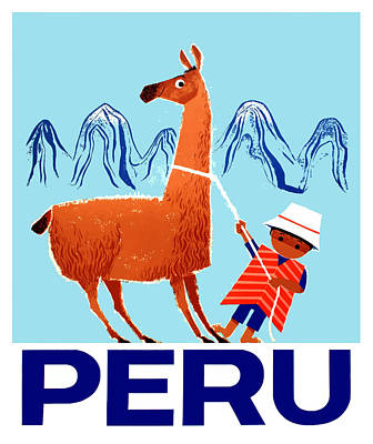 Llama Wall Art - Digital Art - Vintage Child And Llama Peru Travel Poster by Retro Graphics