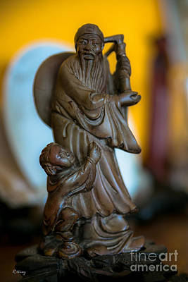 Photograph - Vintage Chinese Hand Carved Wooden Statue by Rene Triay Photography