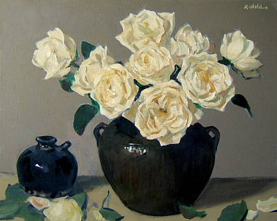 Painting - Vintage Chinese Pottery And Roses by Robert Holden