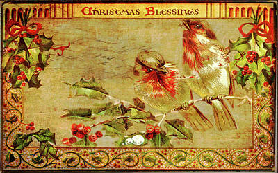 Digital Art - Vintage Christmas Blessings by Wallaroo Images
