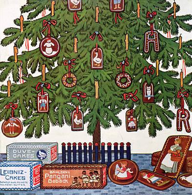 Fir Trees Drawing - Vintage Christmas Card by German School