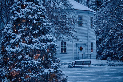 Photograph - Vintage Christmas Church In Vermont by Jeff Folger