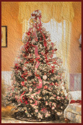 Print featuring the photograph Vintage Christmas Tree In Classic Crimson Red Trim by Shelley Neff