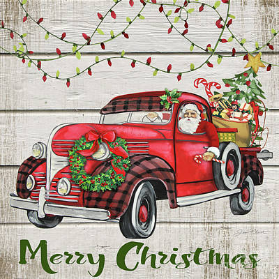 Old Truck With Christmas Tree Painting.Beautifully Designed Christmas Truck Paintings Fine Art