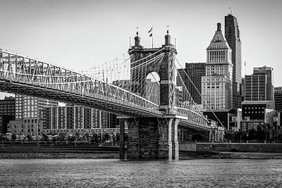 Photograph - Vintage Cincinnati Ohio Skyline And Bridge In Black And White by Gregory Ballos