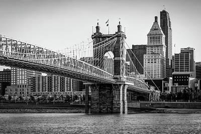 Photograph - Vintage Cincinnati Ohio Skyline And Bridge In Black And White by Gregory Ballos