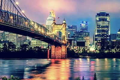 Photograph - Vintage Cincinnati Skyline And Bridge Art - Ohio Cityscape Photography by Gregory Ballos