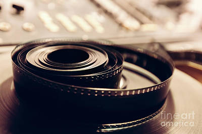 Tape Photograph - Vintage Cine Reel In A Close-up Shot. by Michal Bednarek