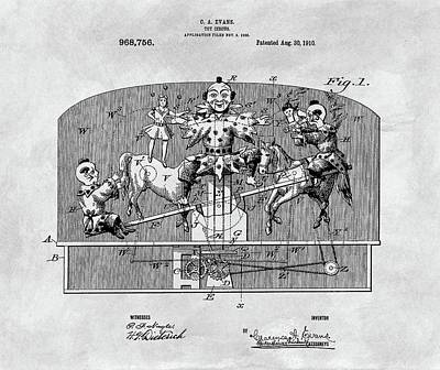 The Tiger Drawing - Vintage Circus Toy Patent by Dan Sproul
