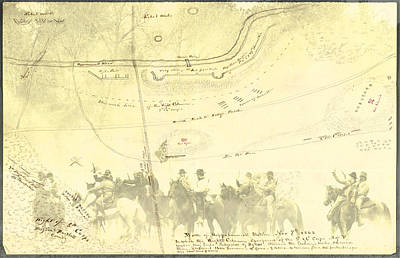 Digital Art - Vintage Civil War Map Art, The 2nd Battle Of Rappahannock Station  by Shelli Fitzpatrick