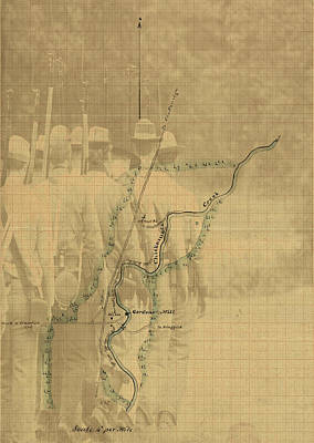 Digital Art - Vintage Civil War Map Art, The Battle Of Chickamauga by Shelli Fitzpatrick