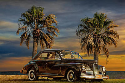 Photograph - Vintage Classic Automobile With Palm Trees At Sunrise by Randall Nyhof
