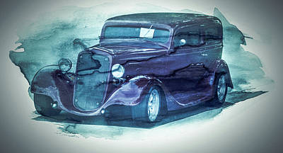 Digital Art - Vintage Classic Car Grunge Style Collage Art by Wall Art Prints