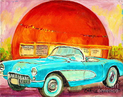 Montreal Street Life Painting - Vintage Classic Car Painting Blue Corvette At Orange Julep Montreal Canadian Art Carole Spandau   by Carole Spandau