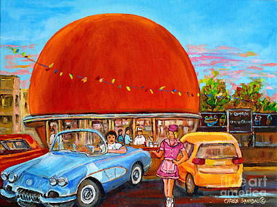 Vintage Classic Cars Painting At The Orange Julep Montreal Diner Canadian Painting Carole Spandau    Art Print