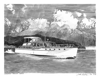 Painting - 1955 Classic Motoryacht by Jack Pumphrey
