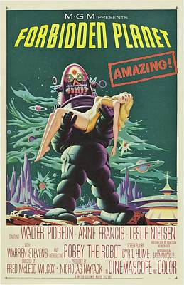 Science Fiction Royalty-Free and Rights-Managed Images - Vintage Classic Movie Posters, Forbidden Planet by Esoterica Art Agency
