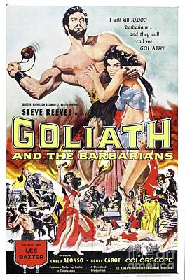 Barbarian Painting - Vintage Classic Movie Posters, Goliath And The Barbarians by Esoterica Art Agency