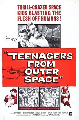Science Fiction Royalty-Free and Rights-Managed Images - Vintage Classic Movie Posters, Teenagers From Outer Space by Esoterica Art Agency