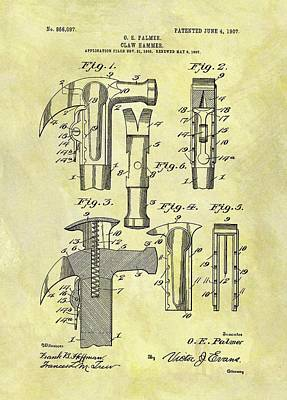 Drawing - Vintage Claw Hammer Patent by Dan Sproul