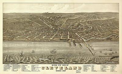 Vintage Cleveland Ohio Map Art Print