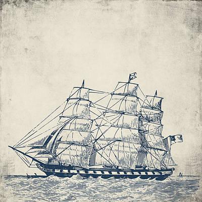 Brandi Fitzgerald Mixed Media - Vintage Clipper Ship V1 by Brandi Fitzgerald