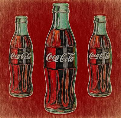 Painting - Vintage Coca Cola Bottles by Dan Sproul