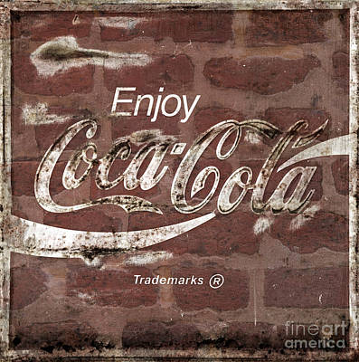 Photograph - Vintage Coca Cola Brick Wall Sign Coke by John Stephens