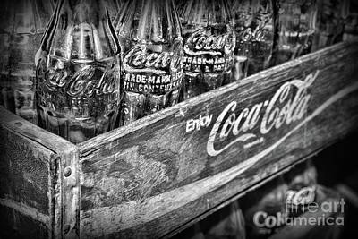 Photograph - Vintage Coca Cola Collection In Black And White by Paul Ward