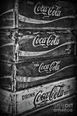 Photograph - Vintage Coca Cola Crates In Black And White by Paul Ward