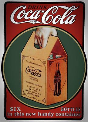 Mixed Media - Vintage Coca Cola Original 6 Pack by David Millenheft