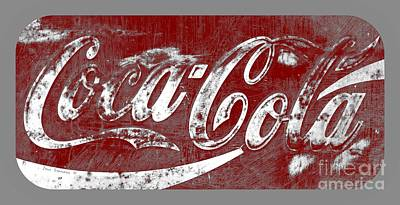 Photograph - Coca Cola Red And White Sign Gray Border With Transparent Background by John Stephens