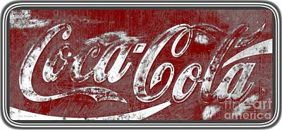 Photograph - Vintage Coca Cola Red And White Sign With Transparent Background by John Stephens