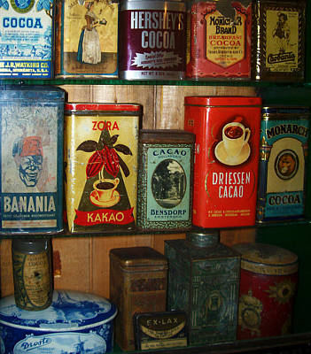 Vintage Cocoa Containers Print by Turtle Caps