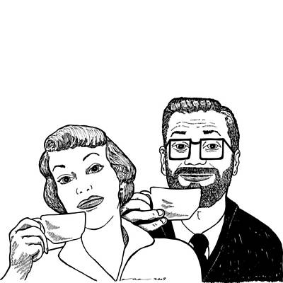 Glass Drawing - Vintage Coffee Time by Karl Addison