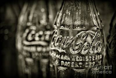 Photograph - Vintage Coke Bottle Close Up In Black And White by Paul Ward