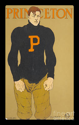 Vintage College Football Princeton Guard Art Print by Edward Fielding